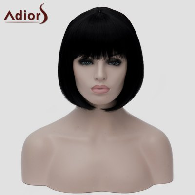 Charming Bob Style Natural Black Short Stylish Straight Synthetic Wig For Women