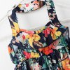 Cute Floral Pring Halter Neck A-Line Girl's Pleated Dress photo