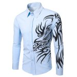 best Fashion Turn Down Collar Dragon Printed Long Sleeves Shirt For Men