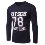 Buy Solid Color Round Collar Number Letter Printed Long Sleeves T-Shirt Men 2XL