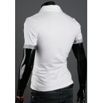 cheap Turn Down Collar Solid Color Short Sleeves T-Shirt For Men