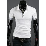 Turn Down Collar Solid Color Short Sleeves T-Shirt For Men