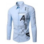 Buy Light blue Stylish Turn-Down Collar Letters Pattern Print Long Sleeve Men's Shirt-13.67 Online Shopping GearBest.com