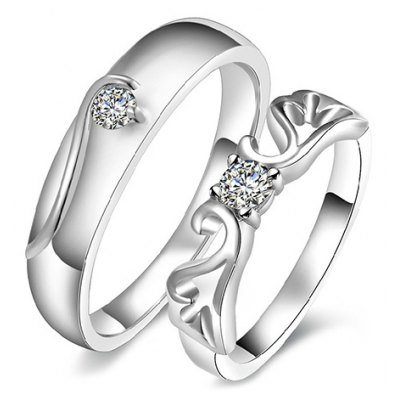 Pair of Rhinestone Hollow Out Ring For Lovers
