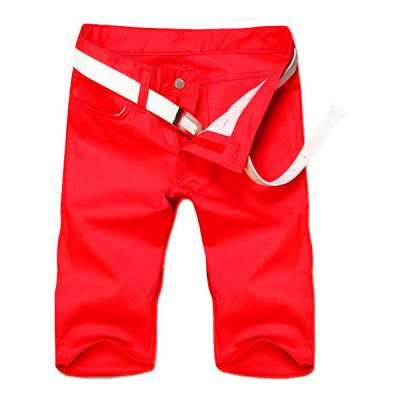 Slimming Straight Leg Solid Color Zipper Fly Men's Shorts