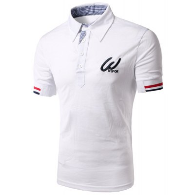 Turn-Down Collar Color Block Rib Splicing Short Sleeve Men's Polo Shirt