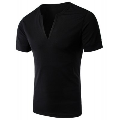 Simple Style V-Neck Solid Color Short Sleeve Men's T-Shirt