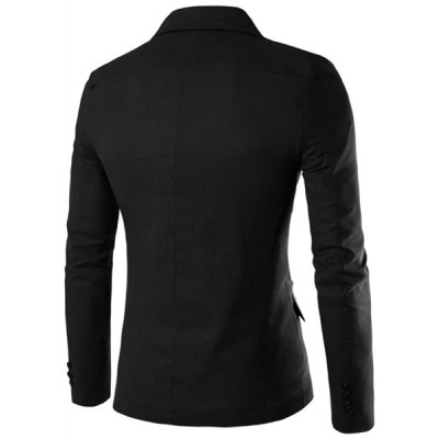 One Button Single-Breasted Lapel Long Sleeves Solid Color Blazer For Men