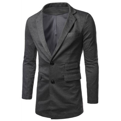 Turn Down Collar Long Sleeves Single Breasted Blazer For Men