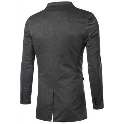Casual Solid Color Turn Down Collar Long Sleeves Single Breasted Blazer For Men
