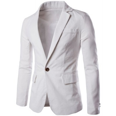 One Button Single-Breasted Color Spliced Lapel Long Sleeves Cotton+Linen Blazer For Men