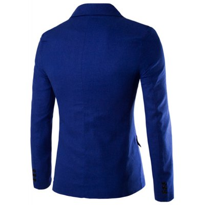 ezzue - One Button Single-Breasted Lapel Long Sleeves Solid Color Blazer For Men