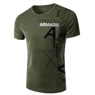 Round Neck Letters Printing Short Sleeve Men's T-Shirt
