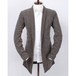 Loose Fit Turn-down Collar Geometric Pattern Long Sleeves Solid Color Cardigan For Men