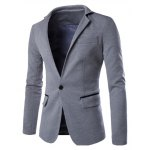 Buy Hit Color Spliced Back Slit Stand Collar Long Sleeves Single-Breasted Blazer Men 2XL