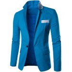 cheap One Button Single-Breasted Color Splicing Lapel Long Sleeves Linen Blended Blazer For Men