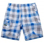 Buy Loose-Fitting Lace-Up Pocket Design Straight Leg Plaid Shorts Men 4XL