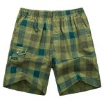 Buy Loose-Fitting Lace-Up Pocket Design Straight Leg Plaid Shorts Men XL