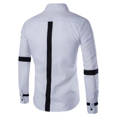 Slimming Shirt Collar Color Block Button Fly Stripes Spliced Long Sleeves Shirt For MenMens Shirts<br>Slimming Shirt Collar Color Block Button Fly Stripes Spliced Long Sleeves Shirt For Men<br><br>Shirts Type: Casual Shirts<br>Material: Cotton Blends<br>Sleeve Length: Full<br>Collar: Turn-down Collar<br>Weight: 0.203KG<br>Package Contents: 1 x Shirt