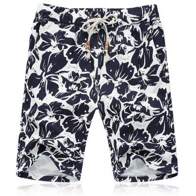 Lace Up Loose Flower Printing Fifth Pants Beach Shorts For Men