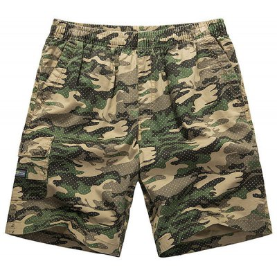 Фотография Loose-Fitting Lace-Up Camouflage Pocket Design Straight Leg Shorts For Men