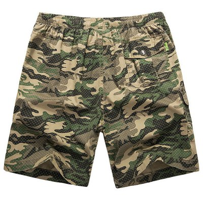 Loose-Fitting Lace-Up Camouflage Pocket Design Straight Leg Shorts For Men