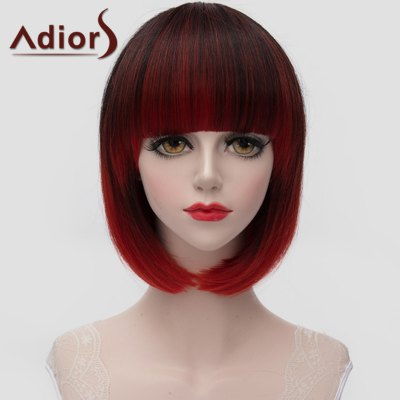 Short Full Bang Straight Tail Adduction Black Ombre Red Synthetic Wig