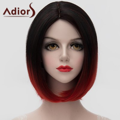 Black Red Gradient Short Bob Style Straight Synthetic Universal Wig