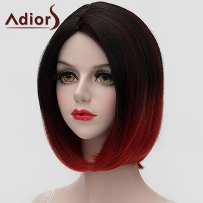 Stunning Black Red Gradient Short Bob Style Straight Synthetic Universal Wig For Women