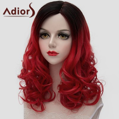 Charming Medium Synthetic Lolita Black Red Gradient Shaggy Wave Wig For Women