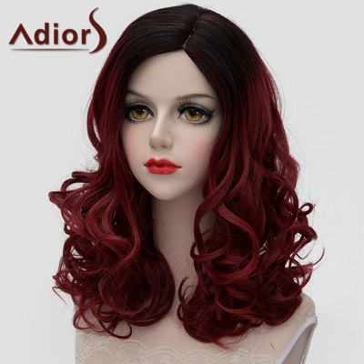 Gorgeous Medium Lolita Shaggy Wave Synthetic Black Ombre Wine Red Wig For Women