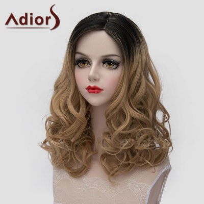 Charming Black Brown Gradient Fluffy Wave Lolita Style Medium Synthetic Wig For Women