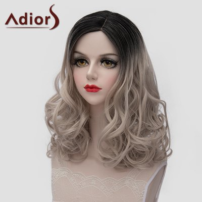 Charming Black Ombre Ash Blonde Synthetic Fluffy Medium Wave Universal Wig For Women