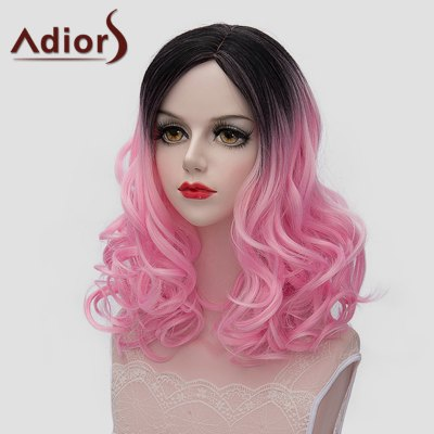 Lolita Style Medium Fluffy Wavy Vogue Black Pink Gradient Synthetic Wig For Women