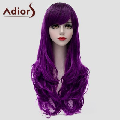 Attractive Long Side Bang Purple Fluffy Wavy Synthetic Universal Wig For Women