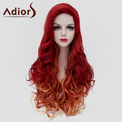 Charming Jacinth Ombre Orange Long Fluffy Wavy Synthetic Wig For Women
