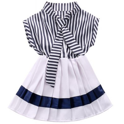 Stylish Turn-Down Collar Striped Buttoned Girl's Dress