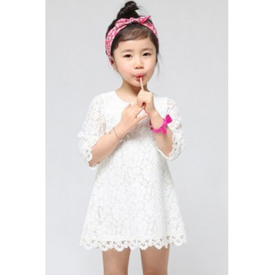 Fashionable 1/2 Sleeve Pure Color Lace Dress