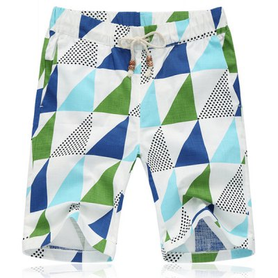 Lace Up  Fifth Pants Triangle Printing Beach Loose Shorts For Men