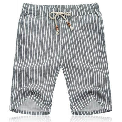 Lace Up Vertical Stripe Fifth Pants Beach Shorts For Men