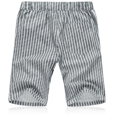 Lace Up Loose Vertical Stripe Fifth Pants Beach Shorts For Men