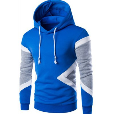 Vogue Hooded Color Lump Splicing Long Sleeves Pullover Hoodie For Men