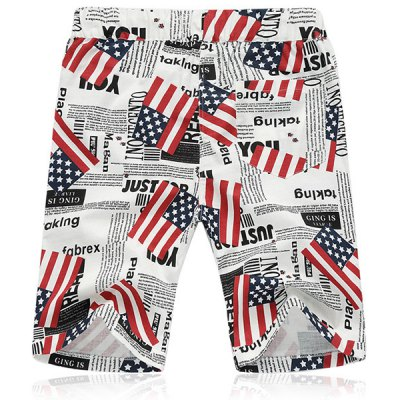 Lace Up Loose Flag Printed Fifth Pants Beach Shorts For Men