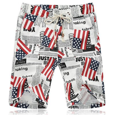 Lace Up Fifth Pants Beach American Flag Shorts