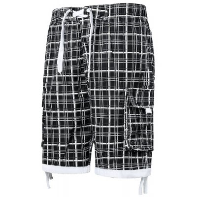 Straight Leg Drawstring Plaid Print Stereo Pocket Men's Board Shorts