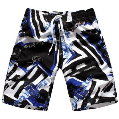 Straight Leg Drawstring Hit Color Geometric Print Men's Board Shorts