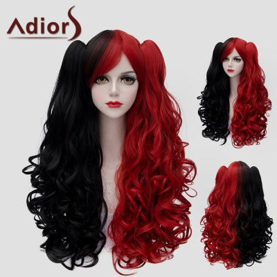 Trendy Long With Bunches Fluffy Wavy Lolita Black Red Splicing Synthetic Wig For Women