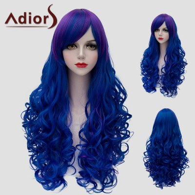 Vogue Side Bang Fluffy Wave Lolita Purple Ombre Blue Long Synthetic Wig For Women