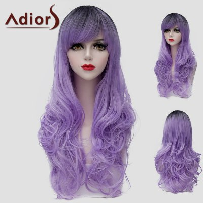 Outstanding Long Synthetic Fluffy Wave Black Ombre Light Purple Universal Wig For Women