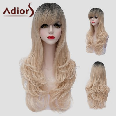 Stunning Black Ombre Light Blonde Synthetic Fluffy Long Wavy Universal Wig For Women